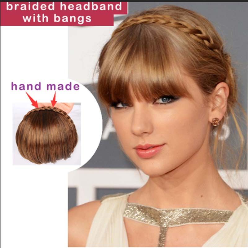 Fake Bangs Hairstyle Fascinating 1 Pc Clip Dans Bangs Faux Extension De Cheveux Postiches Tressé