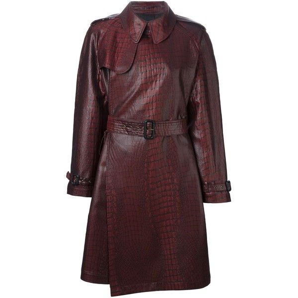 Jean Paul Gaultier Vintage Crocodile Print Trench Coat (22,170 MXN) ❤ liked on Polyvore featuring outerwear, coats, red, red trench coat, red vintage coat, long sleeve coat, red trenchcoat and belted trench coat