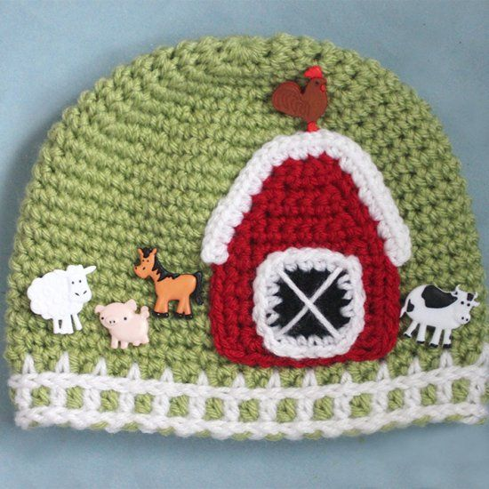 Crochet Farm Hat with Picket Fence Border. Free pattern and tutorial! Embellish with animal buttons and barn appliqué.