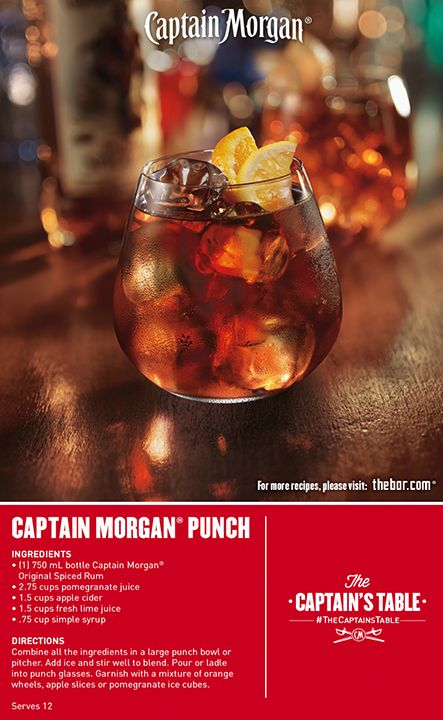 Punch it up with a legendary tropical party cocktail. Serve some citrusy Captain Morgan Punch! #TheCaptainsTable