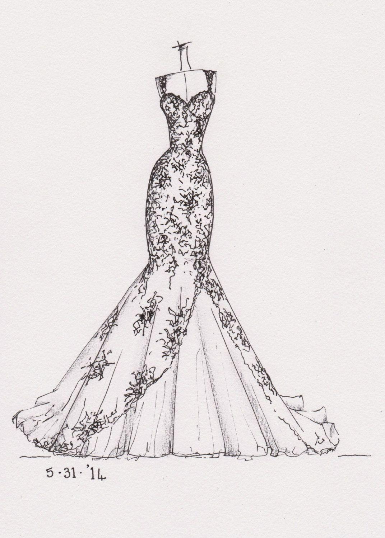Weddinng Dress Illustration Great Gift Idea Dress Illustration Dress Design Sketches Fashion Design Drawings
