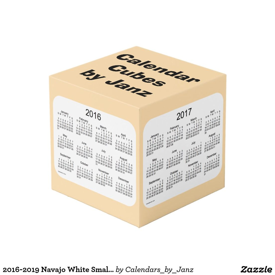 2016-2019 Navajo White Small Calendar Cube by Janz Photo Cube