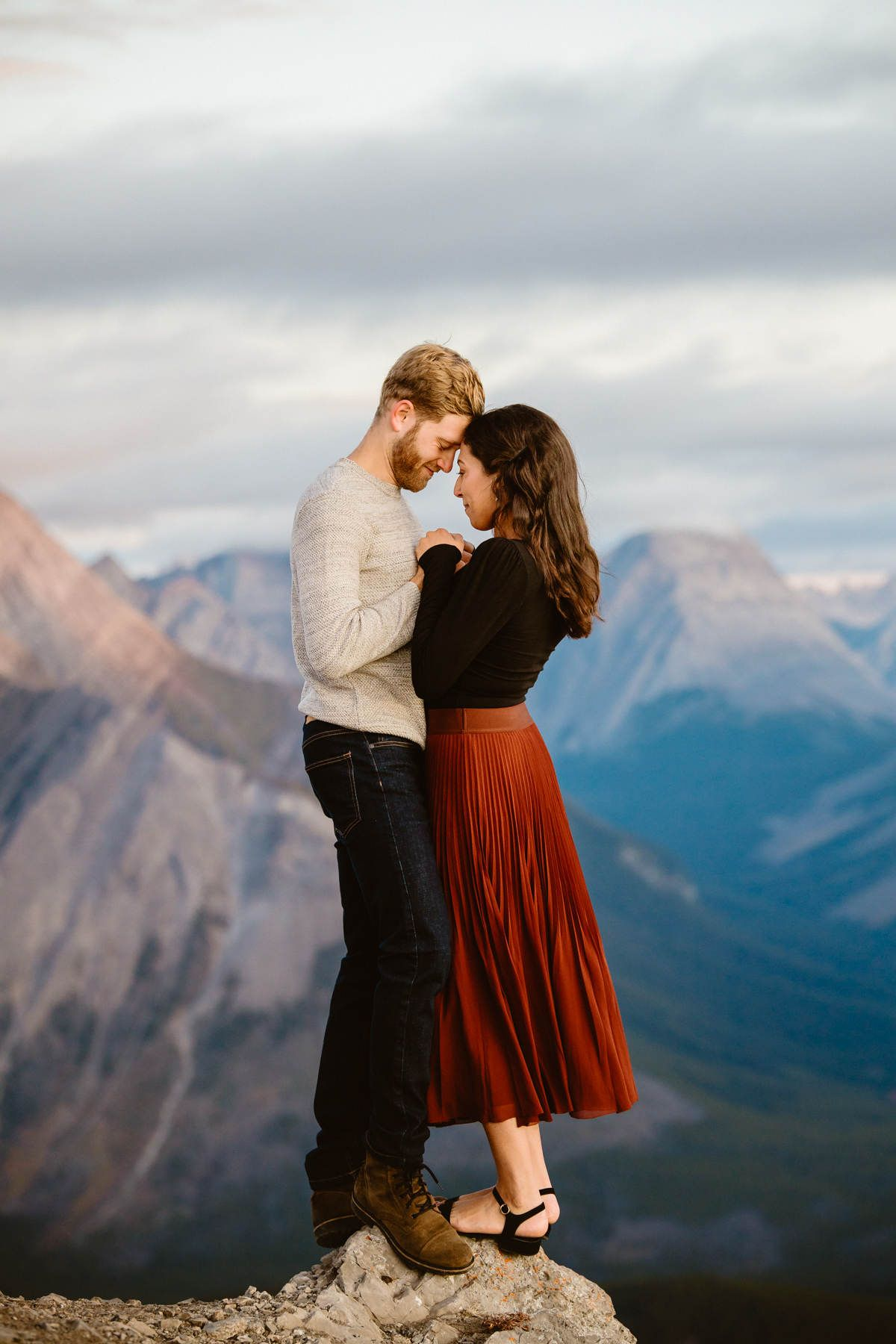 Canmore Hiking Engagement Photos in Kananaskis Country in