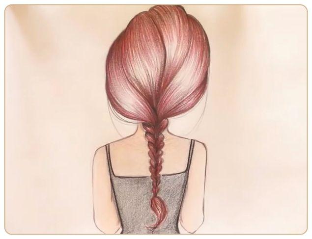 Картинки девушек с косами со спины для срисовки