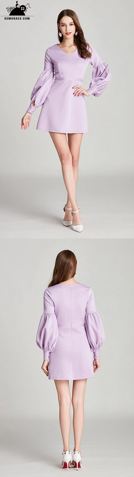 Simple lilac short cotton prom dress with long bubble sleeves dk