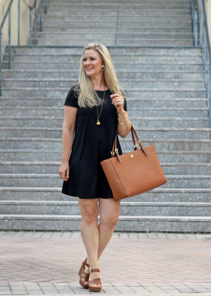 364f6da8acf9 Cute black t-shirt dress that is perfect for summer. Paired with wedges or  a fun pair of flats for a great casual outfit.