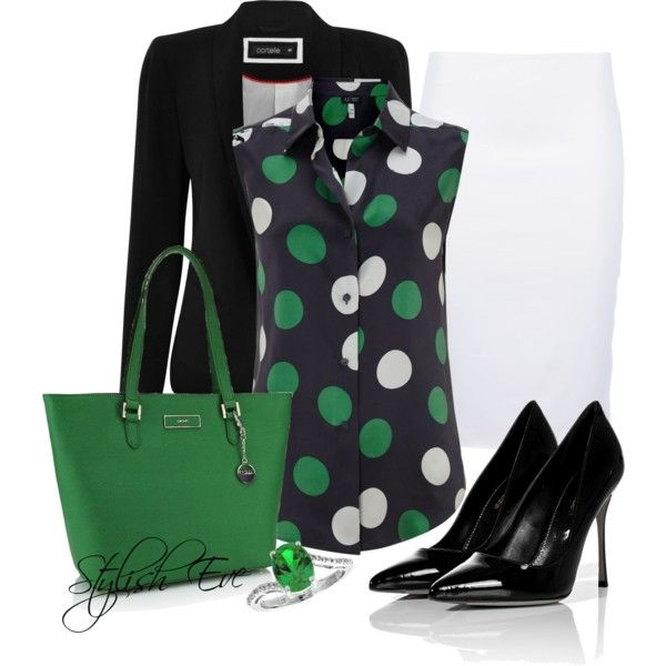 """""""Black White & Green Outfit !"""" by stylisheve on Polyvore"""