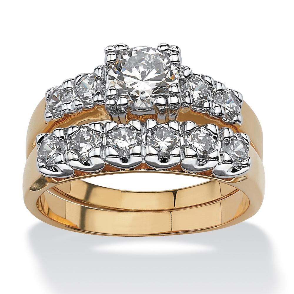 2 Piece 2.15 TCW Round Cubic Zirconia Bridal Ring Set in