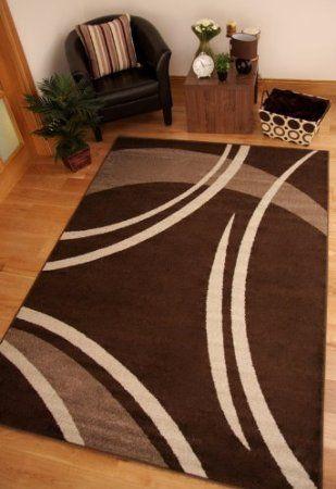 alfombra toledo moderna suave rueda marron oscuro beige 7430: amazon