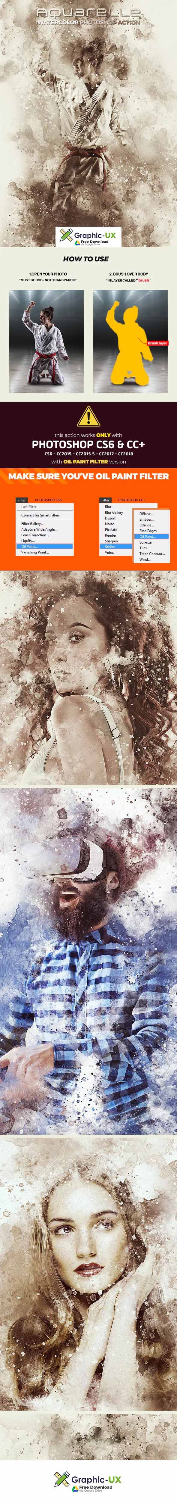Aquarelle Watercolor Photoshop Action Free Download Graphicux