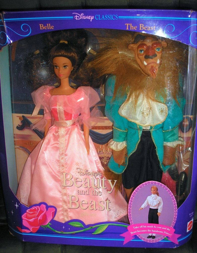 """Disney Beauty and The Beast 12/"""" Classic Doll Set Removable Mask Belle"""