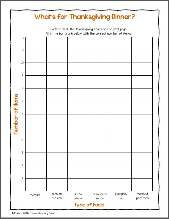 Bar Graph Worksheet Thanksgiving Bar Graphs Graphing Graphing Worksheets