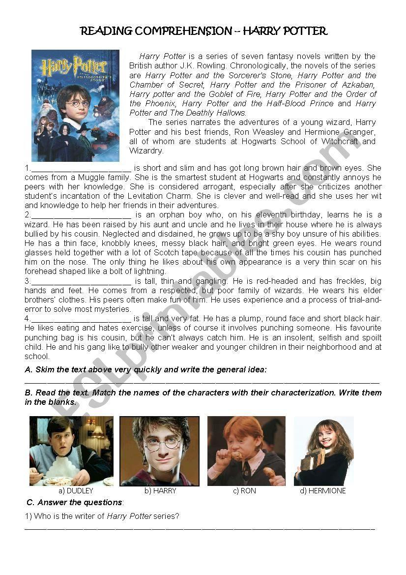 Harry Potter Reading Comprehension Esl Worksheet By Michona Reading Comprehension Reading Comprehension For Kids Reading Comprehension Lessons [ 1169 x 826 Pixel ]