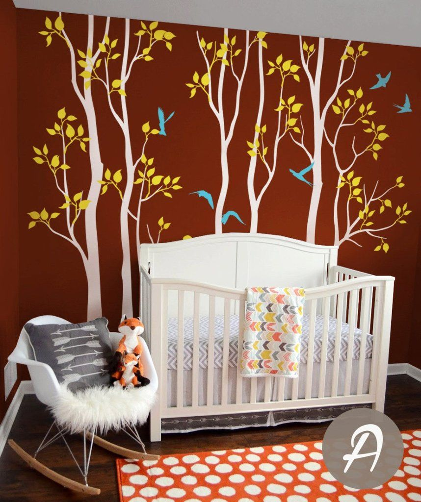 Tree wall decals large personalized family tree decal vinyl wall decal - Nursery Tree Wall Decals Vinyl White Tree With Birds Birch Wall Mural Removable Tree Children Room Decor Huge Tree Stickerd 310
