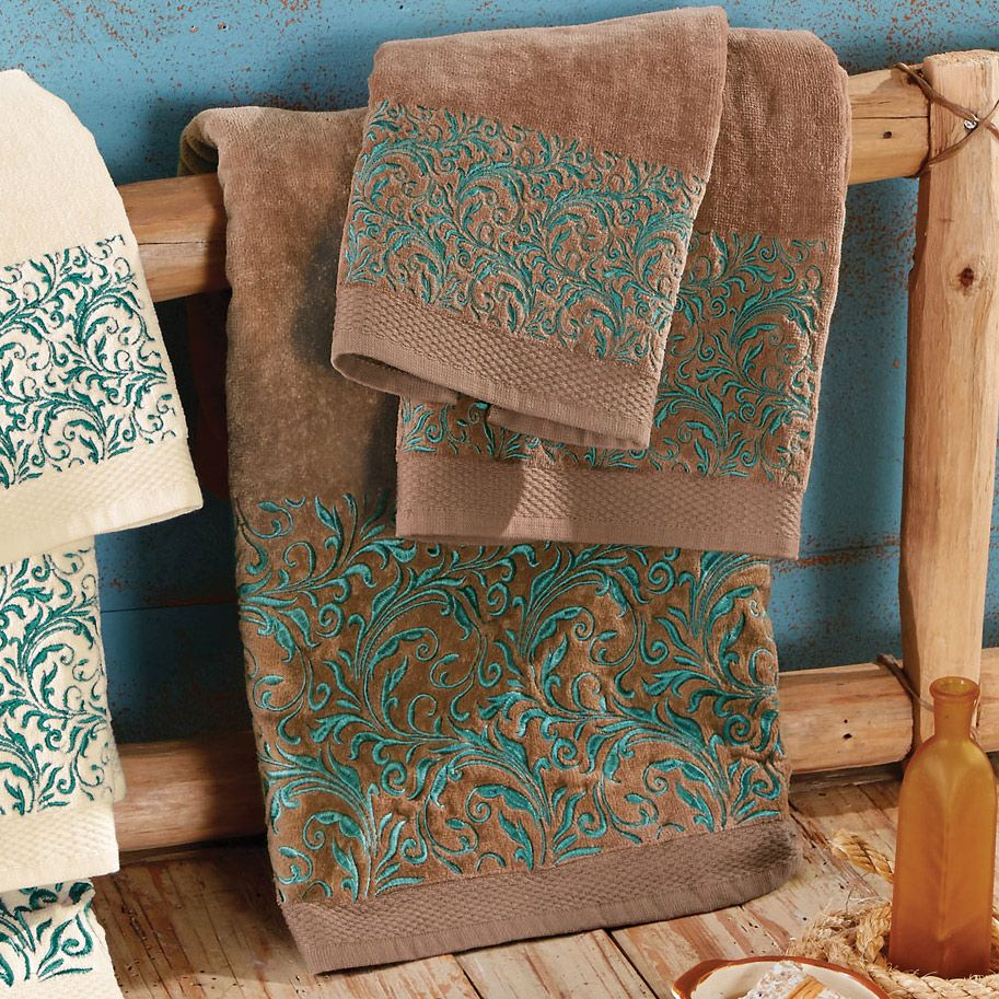 Western Scroll Turquoise Towel Set Brown Turquoise Towels