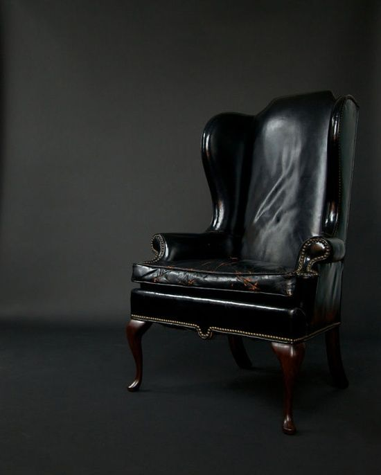 Worn Black Leather Wingback Chair With Nailhead Trim Zsazsa Bellagio Like No Other Man
