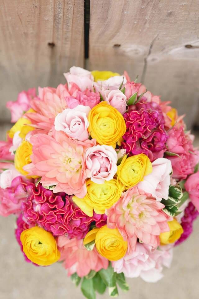 Bridal bouquet. Pink, yellow, green