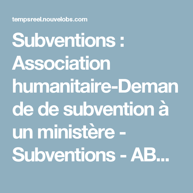 Subventions Association Humanitaire Demande De Subvention A Un