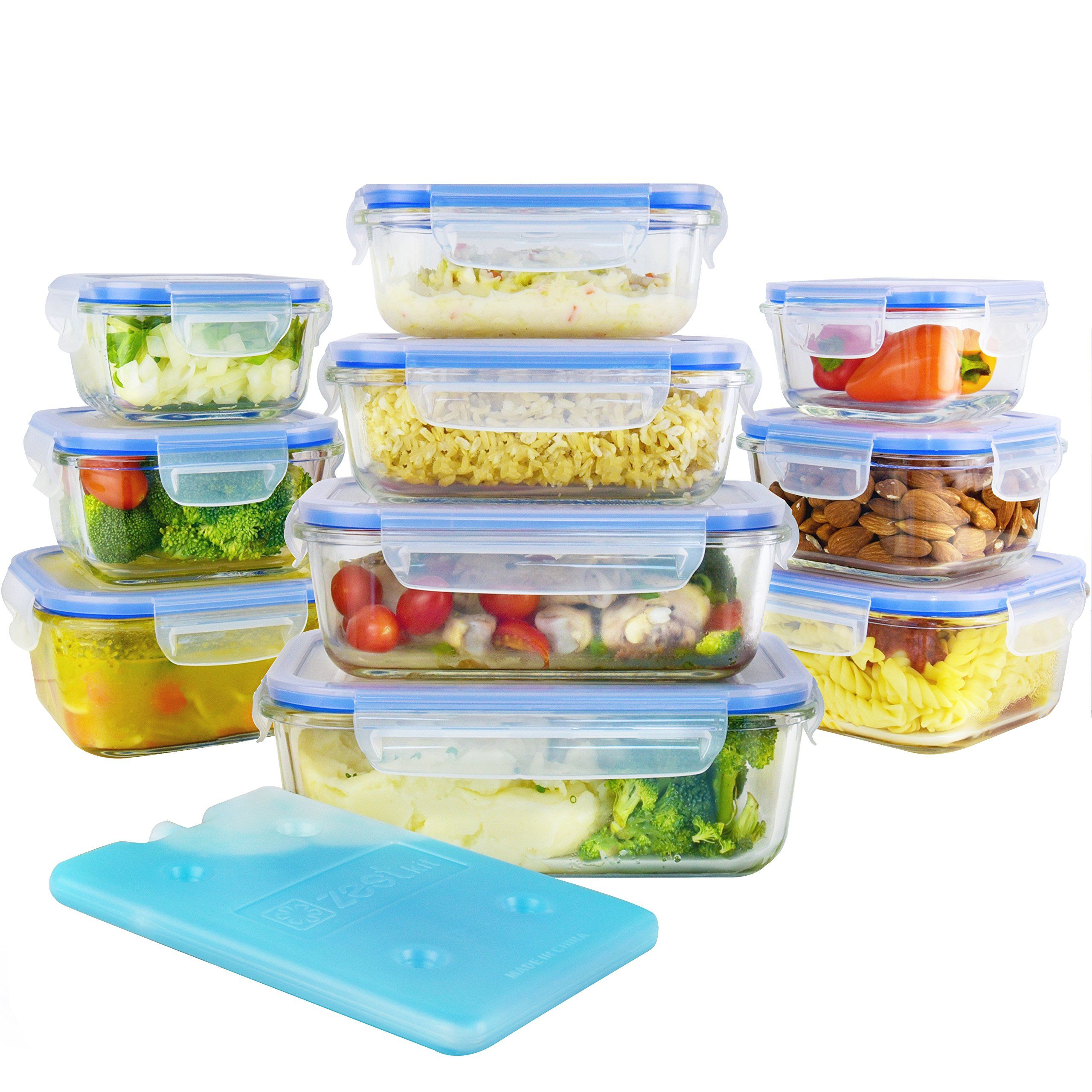 Glass Food Storage Containers With Locking Lids Glass Food Storage Containers Set With Airtight Locking Lids & Free