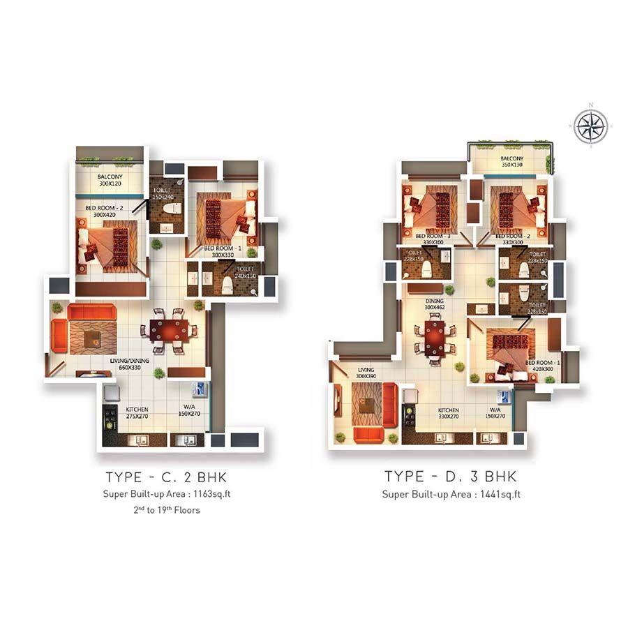 2 & 3 BHK Apartments Near