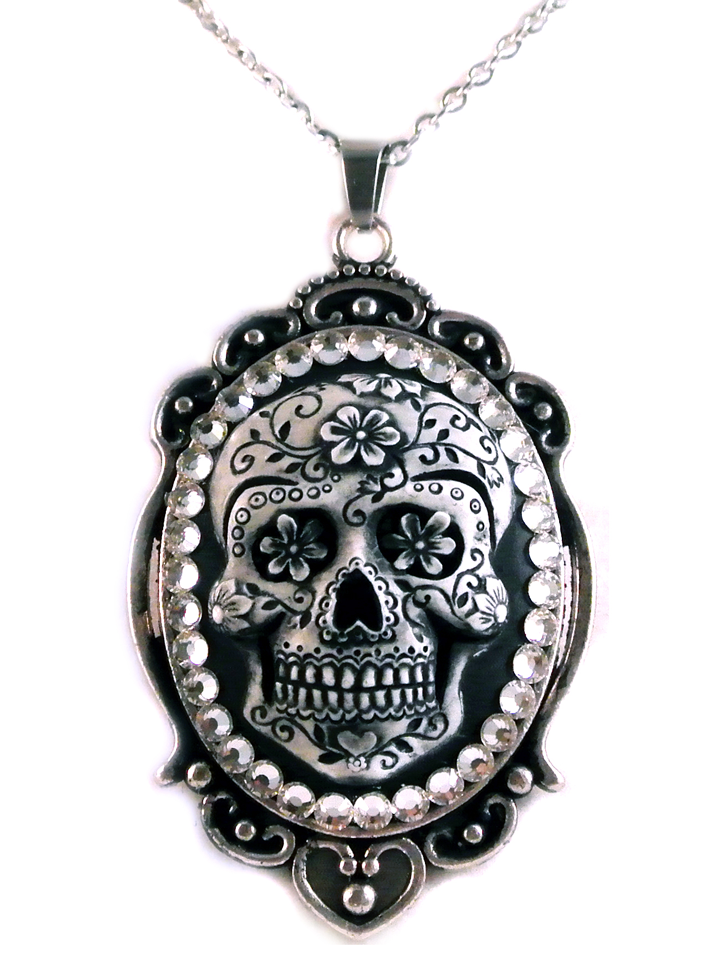 """Women's """"Sugar Skull"""" Cameo Necklace by Diamonds And Coal (Black) #InkedShop #skull #cameo #necklace #jewelry"""