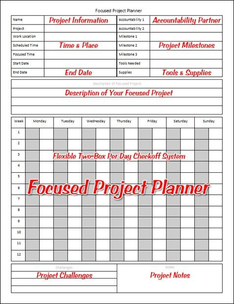Focused Project Planner Printables Pinterest Project planner - project timetable