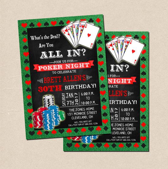 Poker Party Invitation Poker Birthday Invitation Poker Night