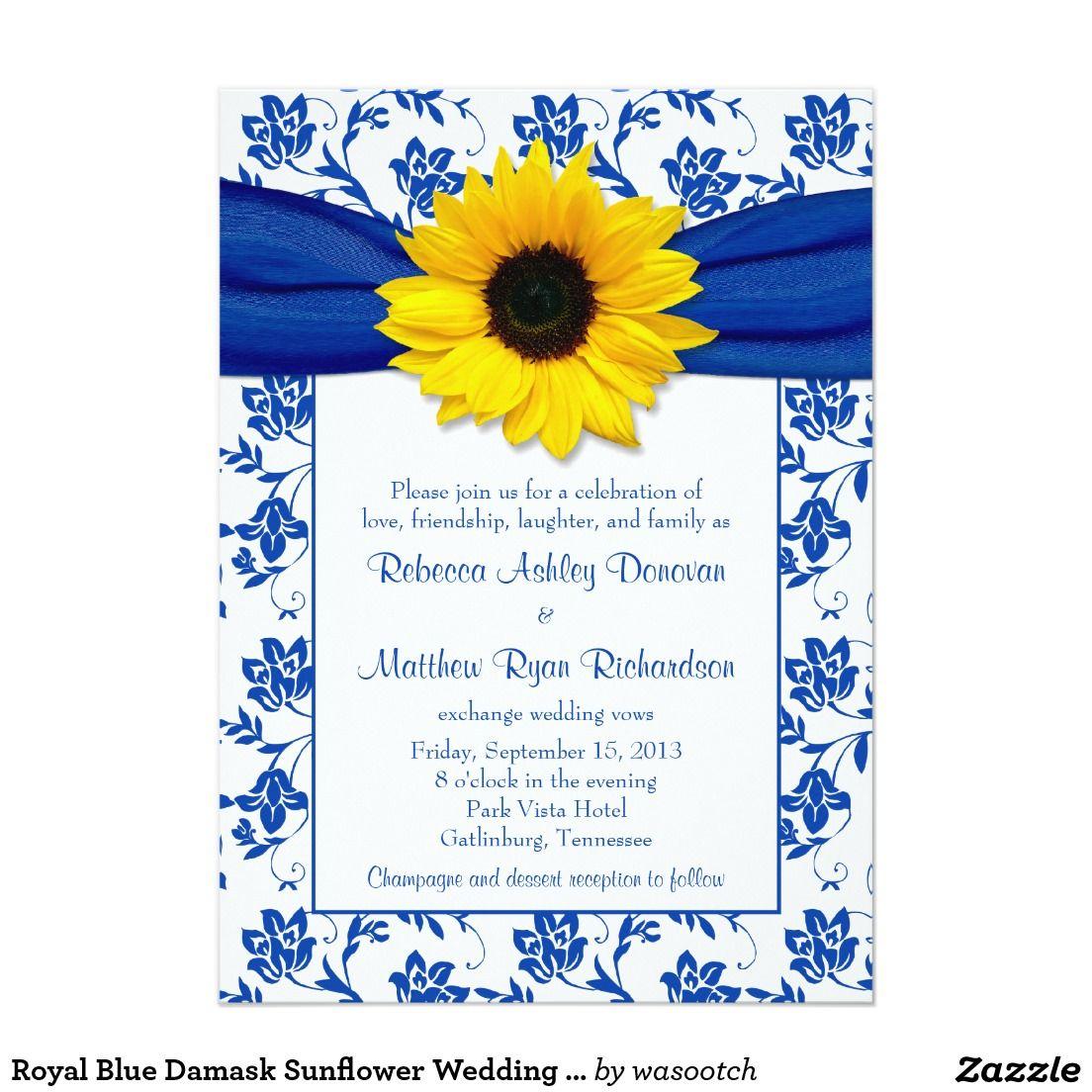 Royal Blue Damask Sunflower Wedding Invitation Zazzle.co