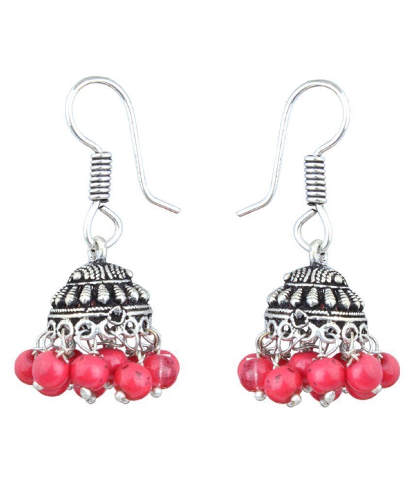 Waama Jewels Jhumki Earring Silver Plated College Wear Oxidised ...