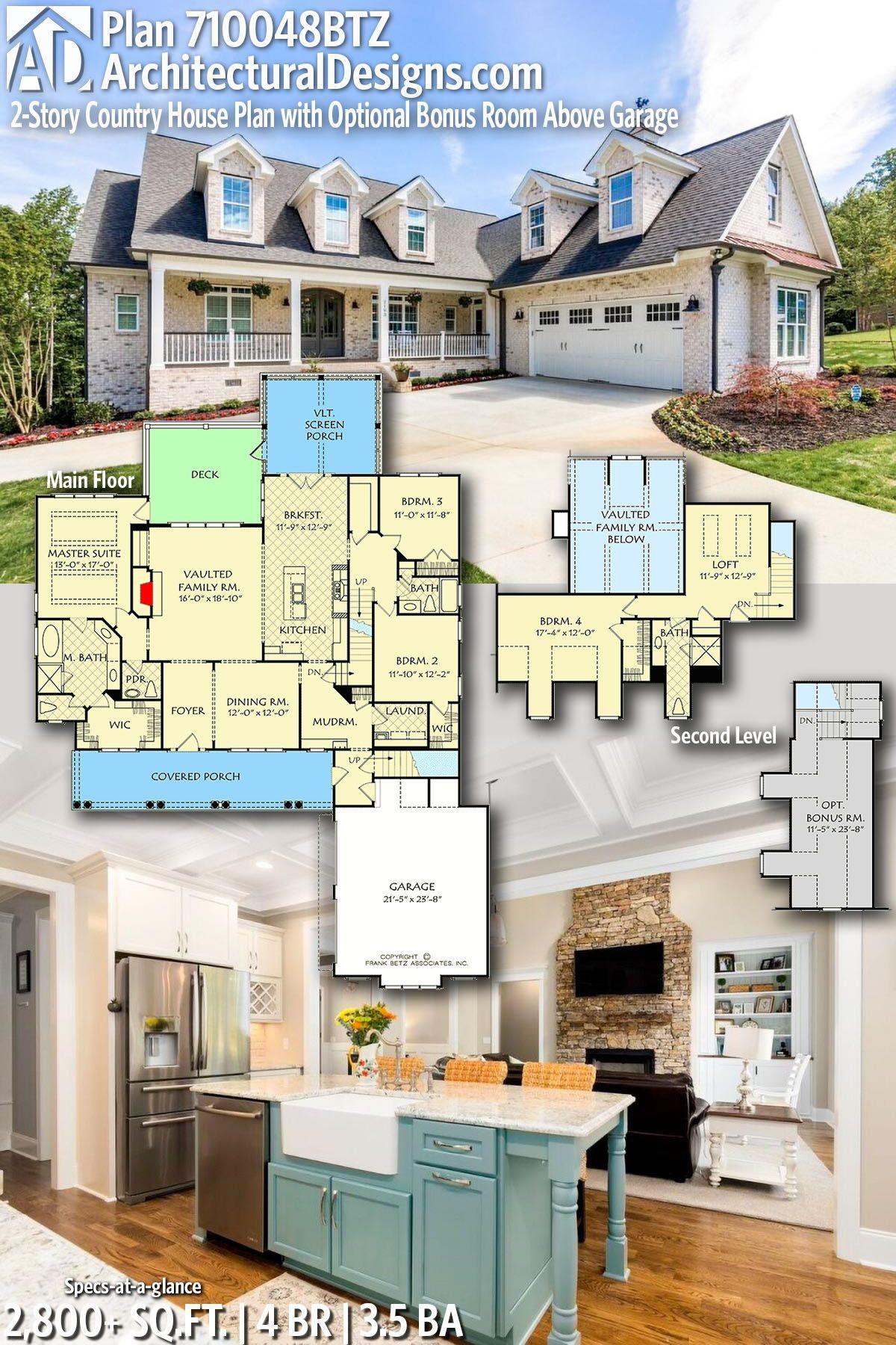 Plan 710048btz 2 Story Country House Plan With Optional Bonus Room Above Garage House Plans House Blueprints Dream House Plans