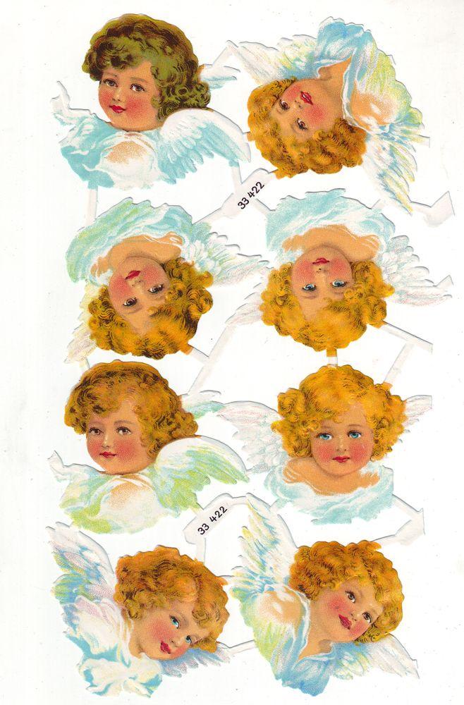 Vintage Mid Century Angel Die Cut Scraps