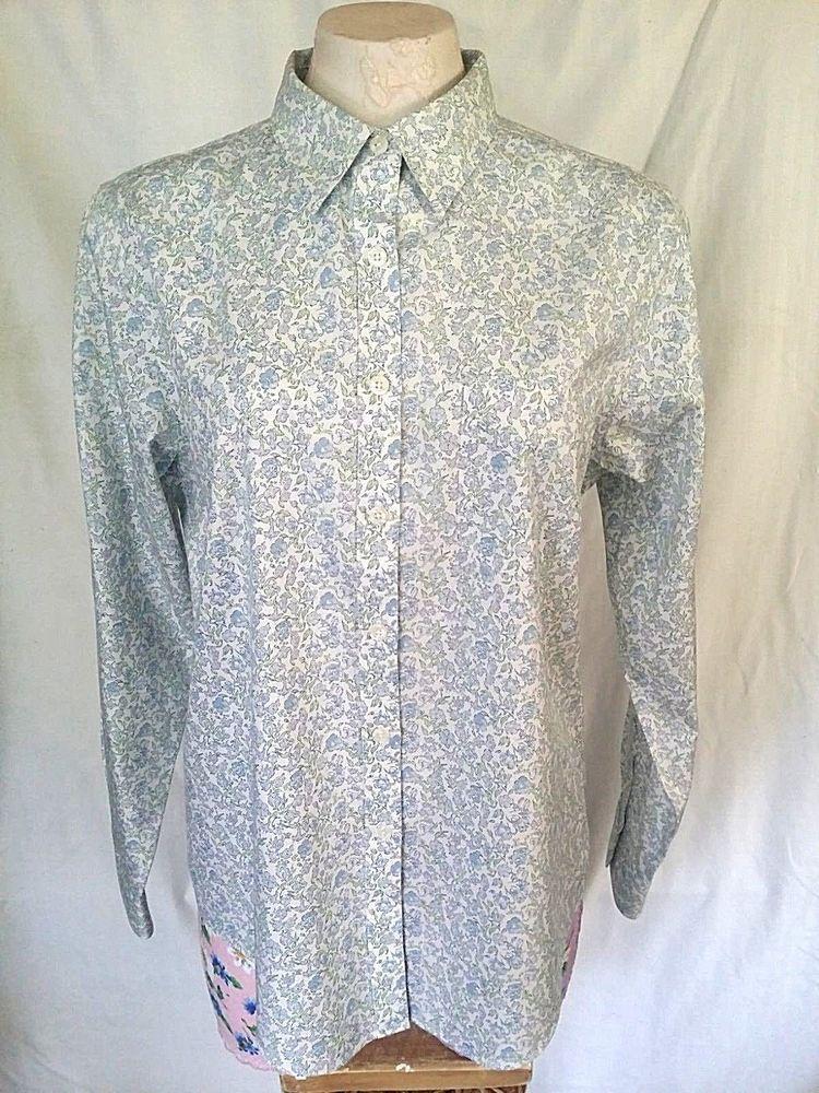 Ll Bean Womens Shirt Blue Button Down Long Sleeve Floral Wrinkle