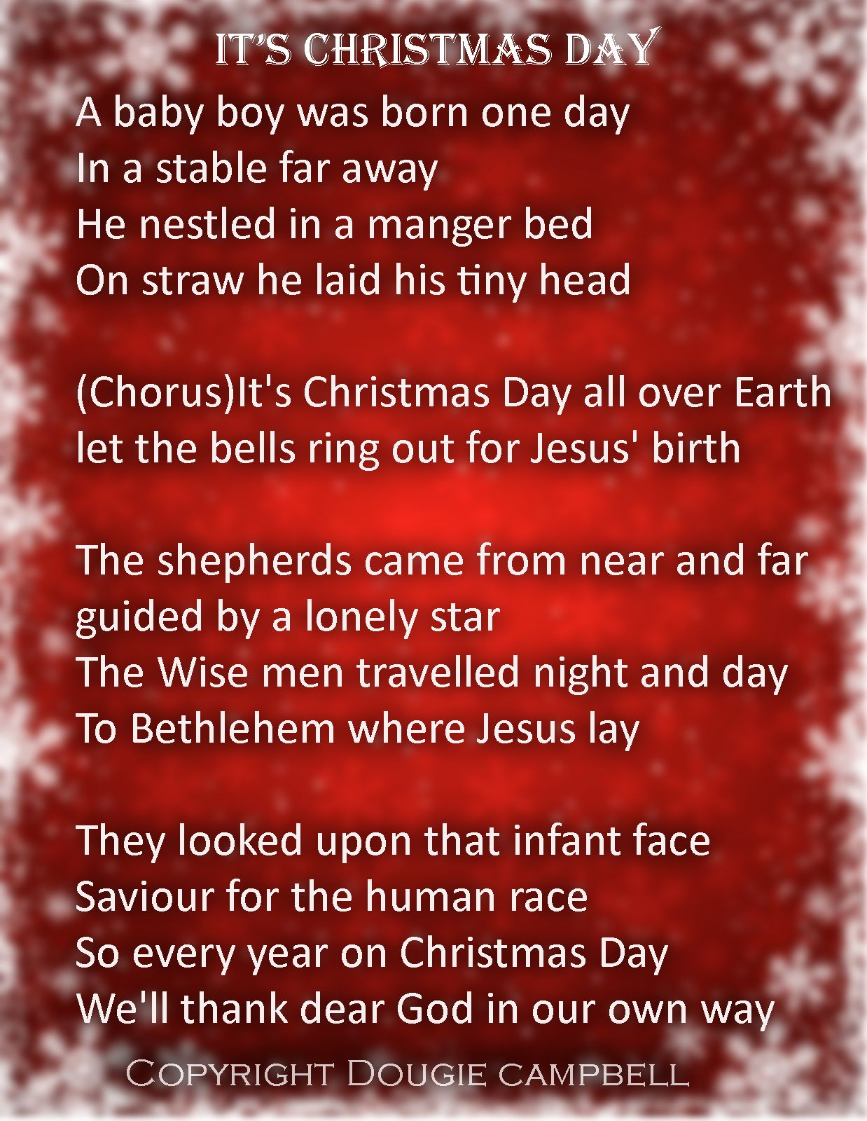 The lyrics to It\'s Christmas Day - The Christmas Song that was ...