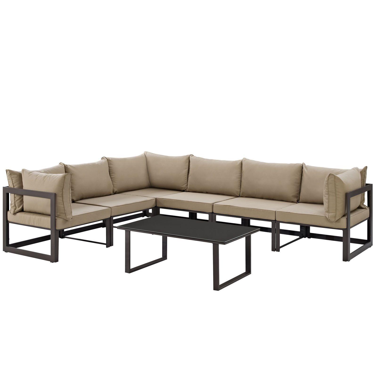 Fortuna 7 Piece Outdoor Patio Sectional Sofa Set Pinterest ~ Sofa Divã Para Quarto Com Quarto Forrado Com Pvc