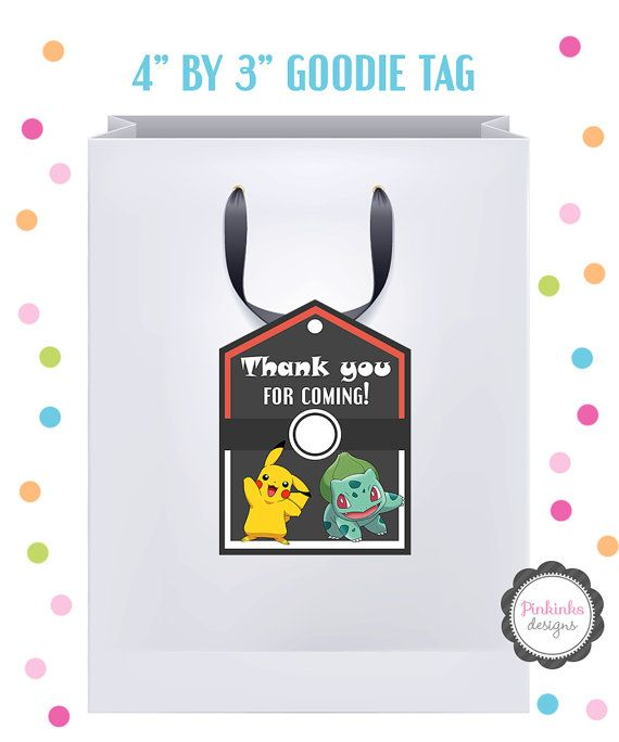 DIY Printable Pokemon Goodie Bag Tag Favor Party Gift By Pinkinks