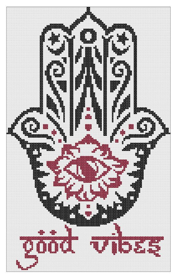Good Vibes Hamsa Cross Stitch Pattern PDF Instant Download
