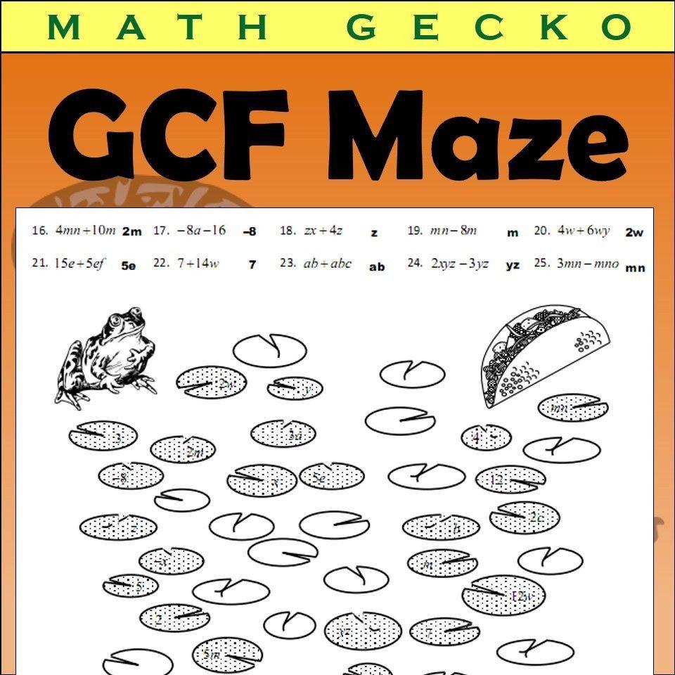 Factoring Maze Worksheet Answers Gcf Greatest Mon Factor