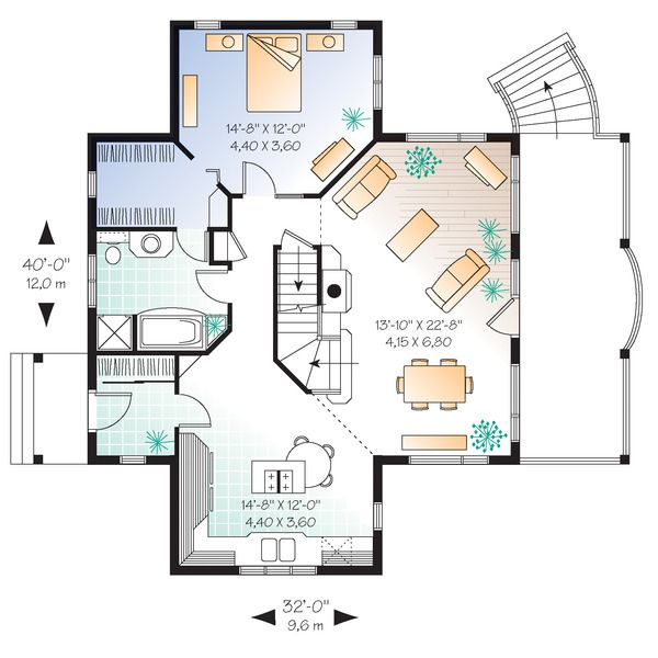 Southern Style House Plan - 2 Beds 2.00 Baths 1480 Sq/Ft Plan #23-2038 Floor Plan - Main Floor Plan - Houseplans.com