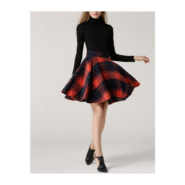 Color-block Plaid Flare Skirt (£20) ❤ liked on Polyvore featuring skirts, tartan skater skirt, circle skirt, tartan plaid skirt, flared skirt and plaid skater skirt
