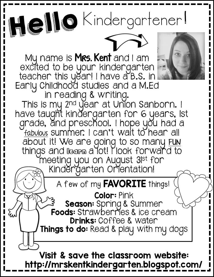 meet the teacher letter prek