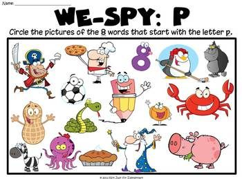 Beginning sound board game for letters pfkj i pinterest we spy letter p can be used as worksheet center activity or projected as a group game spiritdancerdesigns Choice Image