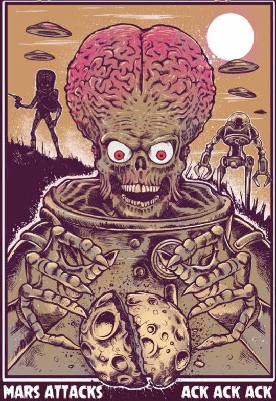Mars Attacks 1996 Mars Attacks Horror Art Movie Art
