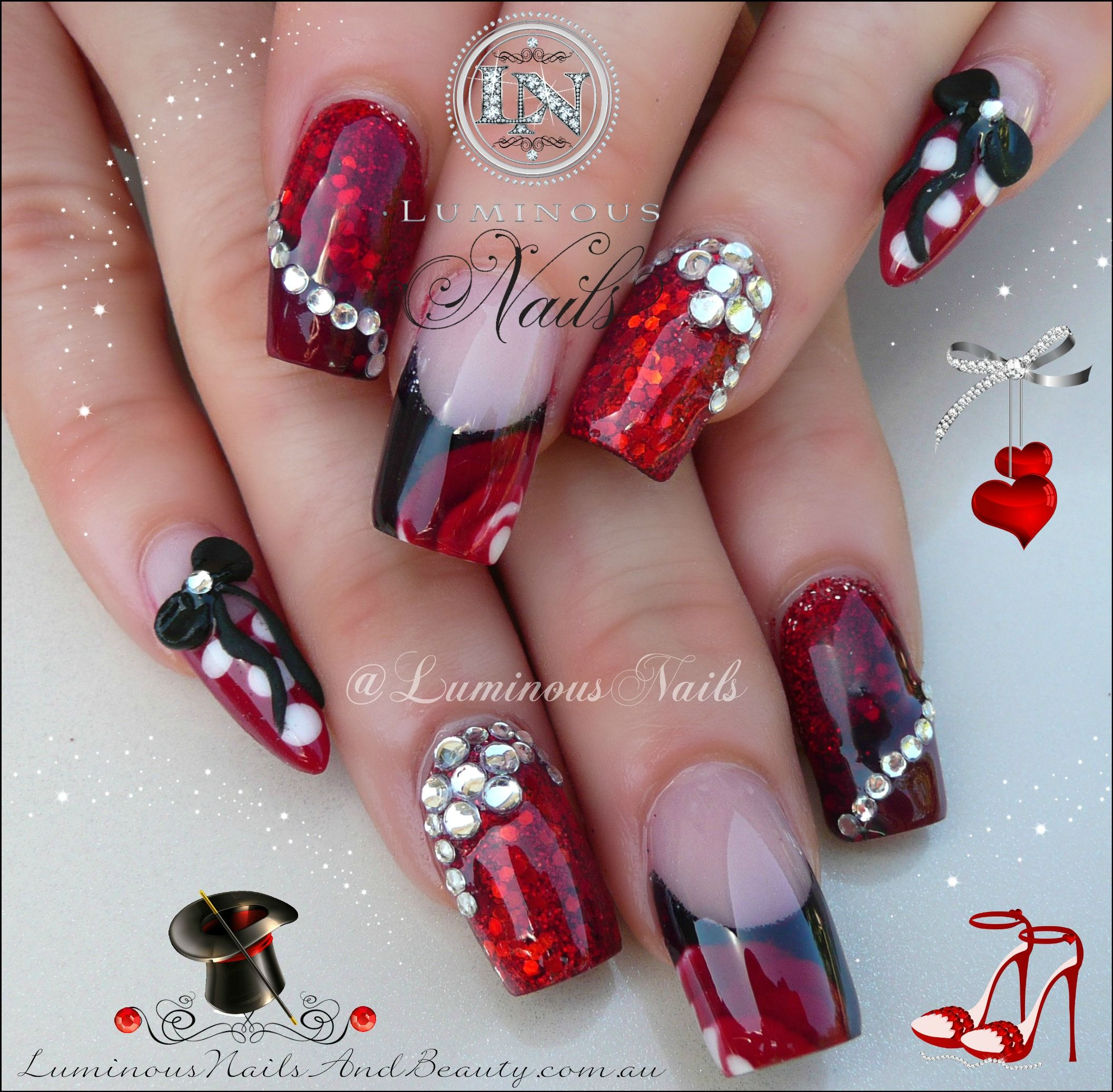 Red Nail Art: Gel Nail Designs With Glitter
