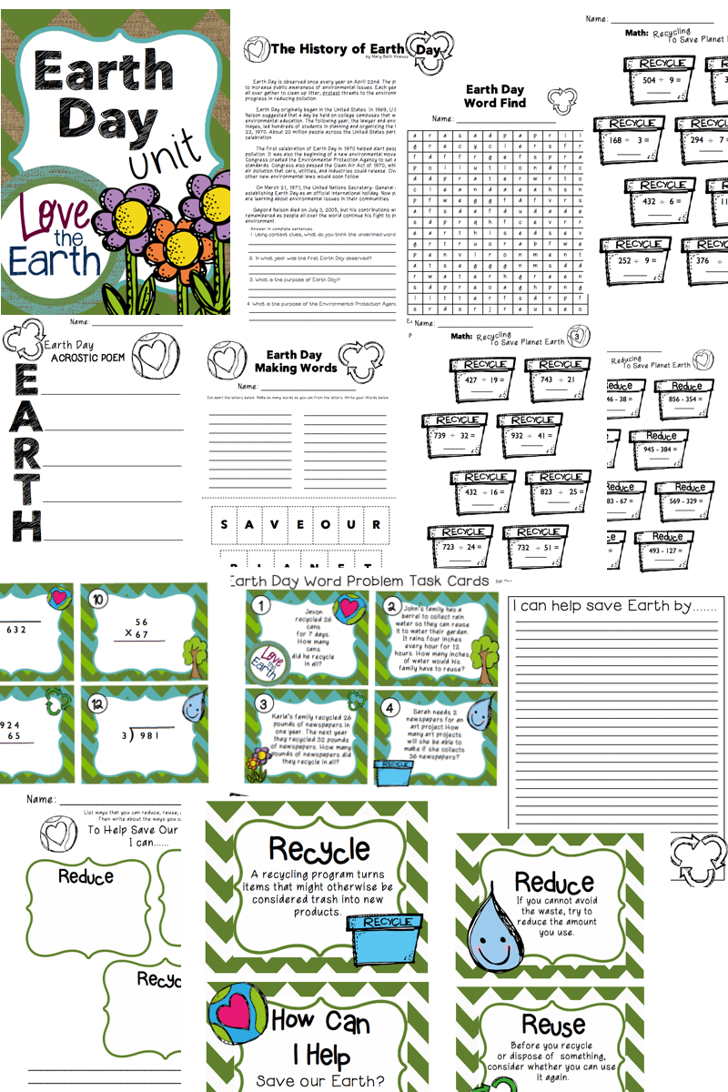 Earth Day Unit Math \u0026 ELA Grades 3-5   Earth day activities [ 1200 x 800 Pixel ]