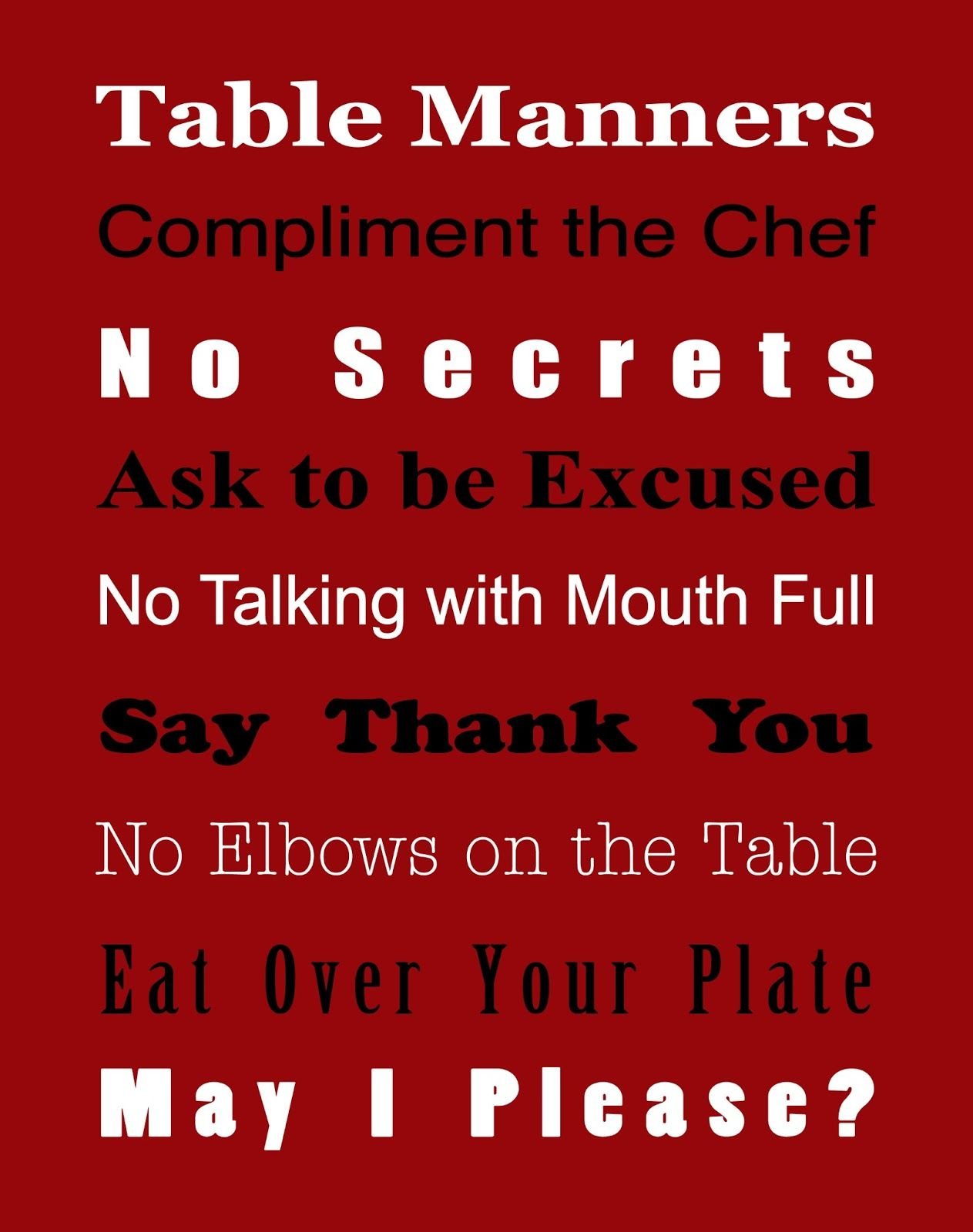 Basic Table Manners Free Printable True Aim Paing And Education