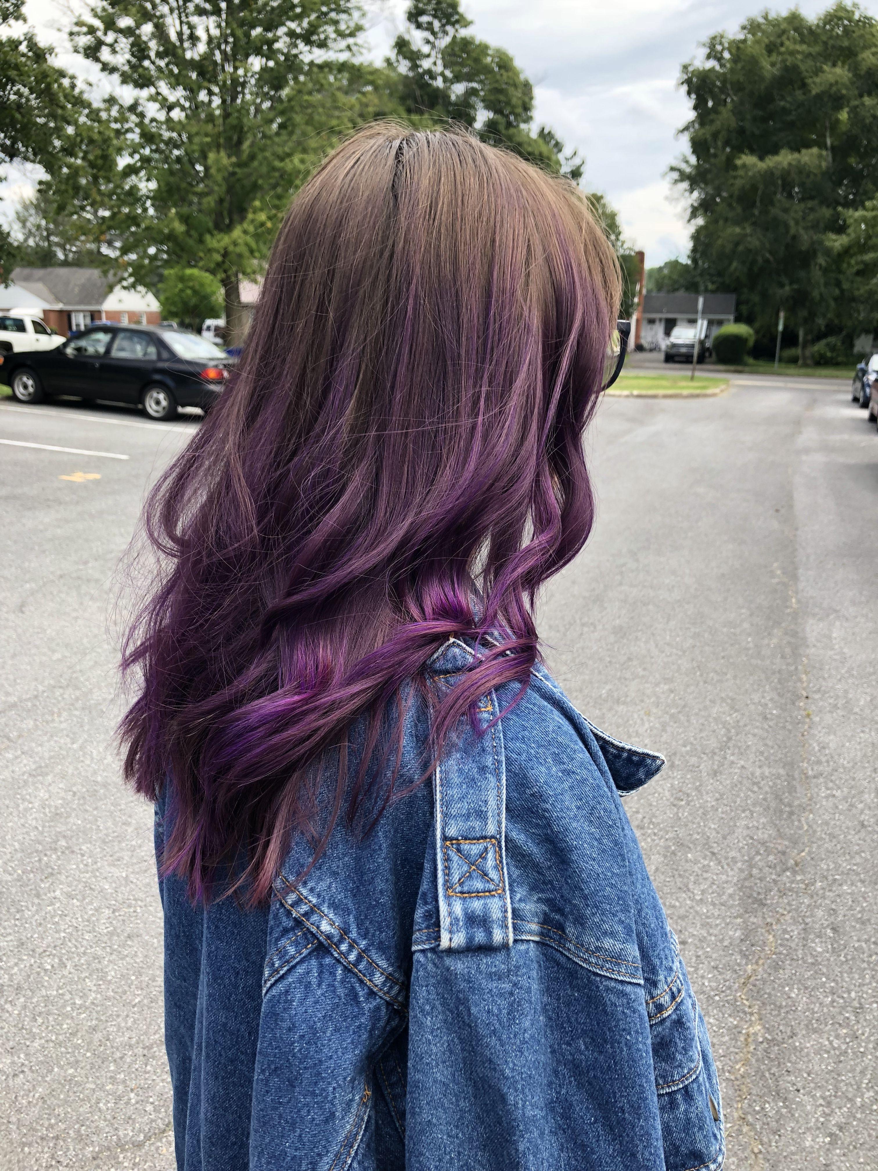 Arctic Fox Purple Rain Hair Brown Medium Brown Balayage Brown Hair To Purple Purple Brown Hair Purple Balayage Brown Hair With Highlights