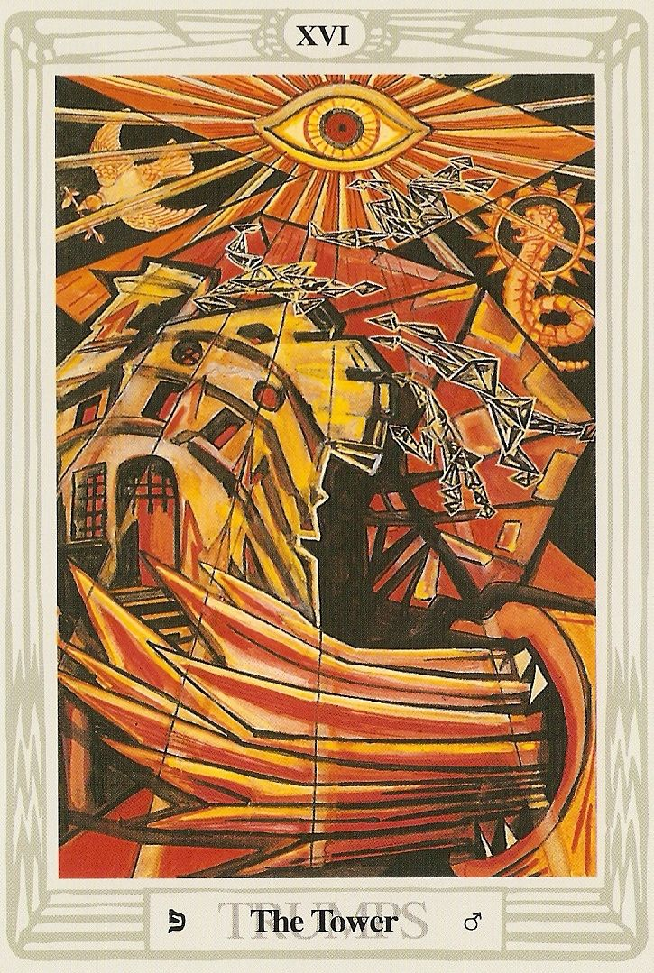 'The Tower' Tarot Card From The Thoth Deck By Aleister