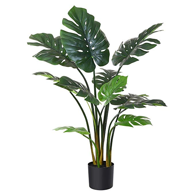 Amazon Com Fopamtri Artificial Monstera Deliciosa Plant 43 Fake Tropical Palm Tree Perfect Faux Swiss Cheese Pla Potted Trees Fake Plants Decor Cheese Plant