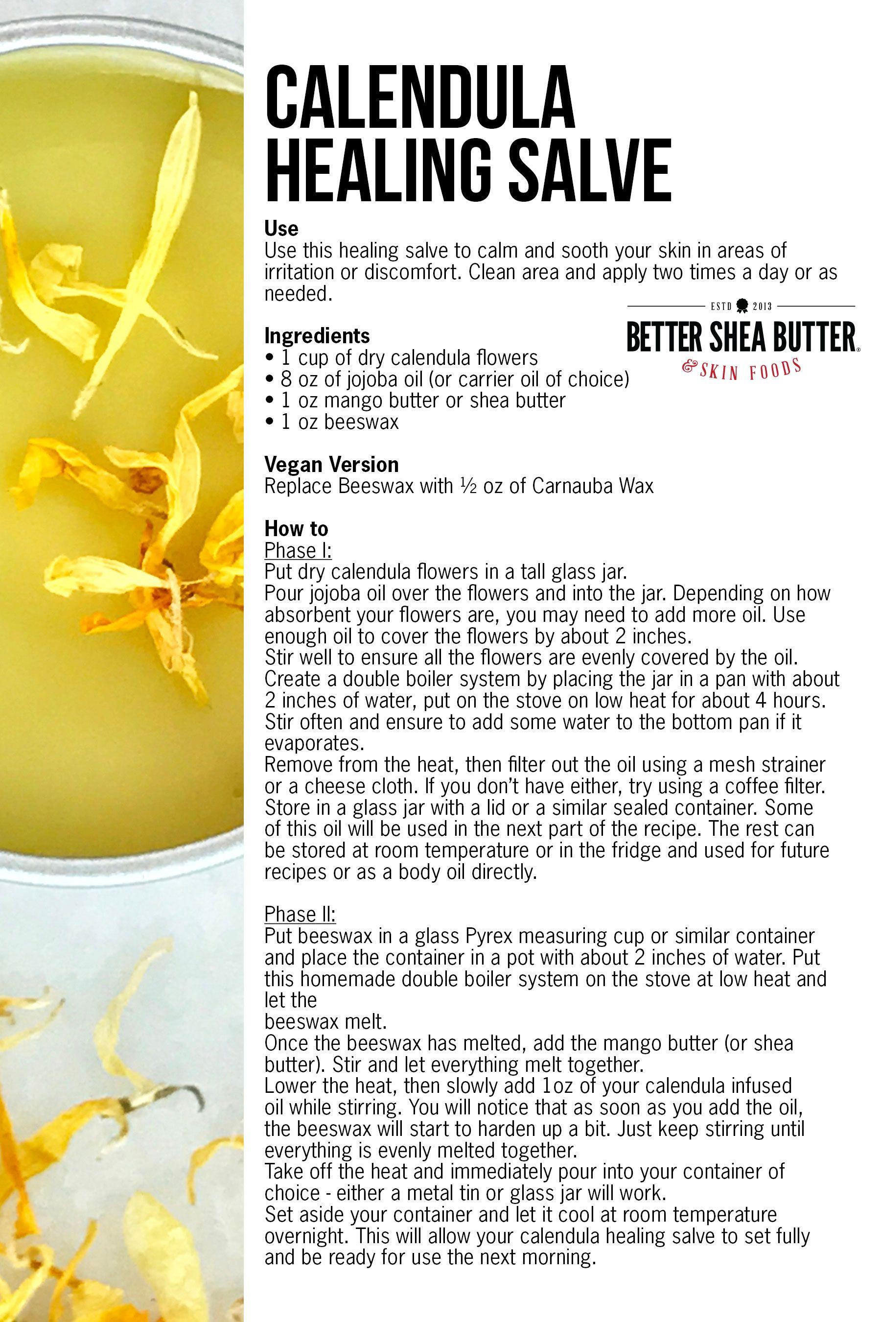 Homemade Calendula Healing Salve w/ Mango or Shea