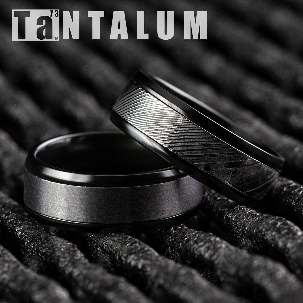8mm men's black titanium wedding ring with a sating grey